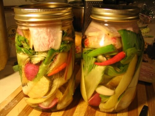 Radish pickles with greens